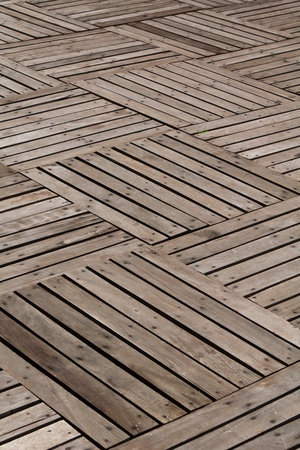 Patterns and textures of a wooden planks pavement Stock Photo - 10439579