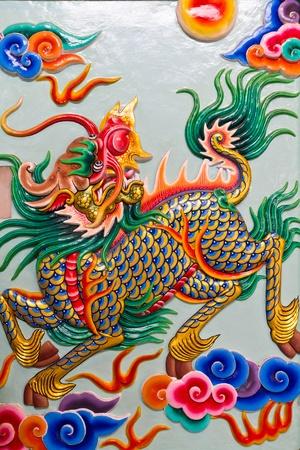 Chinese style sculpture art, Kilin fairy tale animal Stock Photo