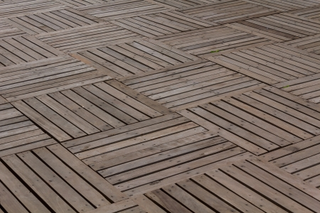 Patterns and textures of a wooden planks pavement Stock Photo - 21030719