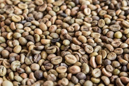 tight focus: Coffee beans background at an angle with selective focus