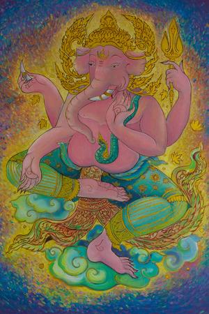 shree: God of Hindu, Ganesh watercolor drawings on the wall.