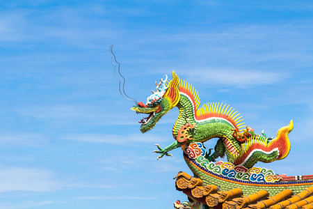 Dragon sculpture on roof of a Chinese temple.