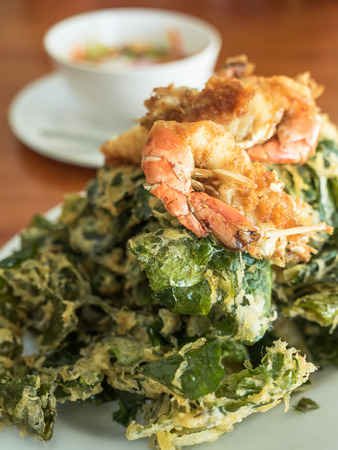 Soft focus of fried shrimp with vegetable fritters crisp. Stock Photo