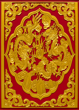 Chinese afbeelding draak in chinese tempel Thailand.