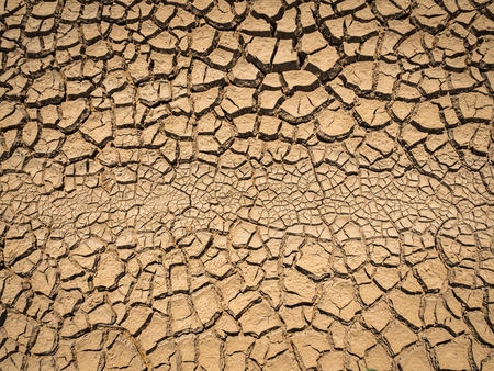 dried and cracked soil in arid season.