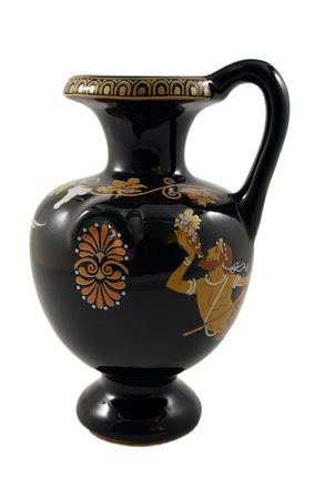 Ancient Greek vase with mythological paintings on white background.