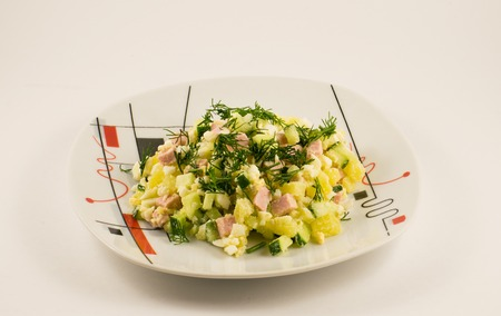 Salad Olivier. Traditional salad in Russia Stock Photo