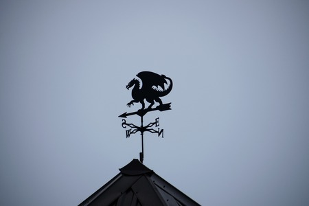 Black dragon wind vane against the sky. Weather vane on roof of the building.