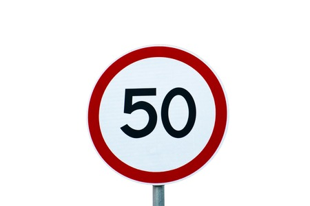 Traffic sign speed limit 50 isolated on a white background