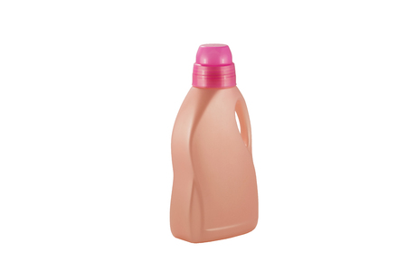 Pink plastic bottle for liquid laundry detergent, cleaning agent. Packaging collection.