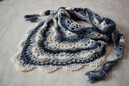 Knitted white-blue handkerchief for girl. Knitted shawl for for woman