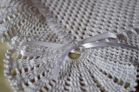 Knitted envelope for newborn. Baby Envelope. 写真素材