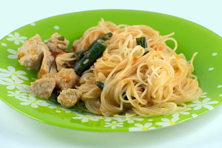 Asian noodles with green beans and turkey. Pad Thai with turkey.