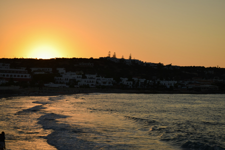 Scenic view of beautiful sunset above the sea in Greece. Фото со стока