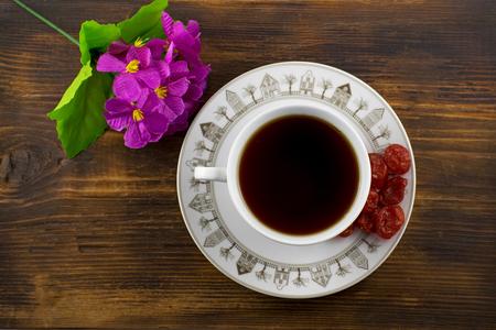 Fruit tea with dried cornelian cherry. Stock Photo