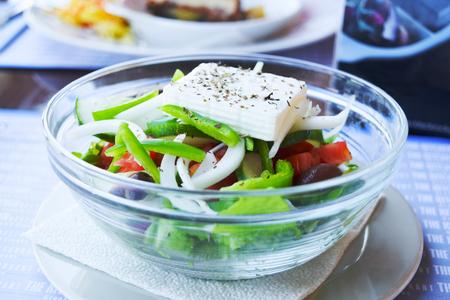 Greek salad with fresh vegetables.