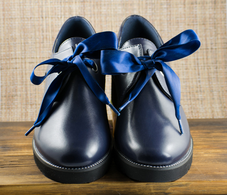 Dark Blue Leather Womens Boots Stock