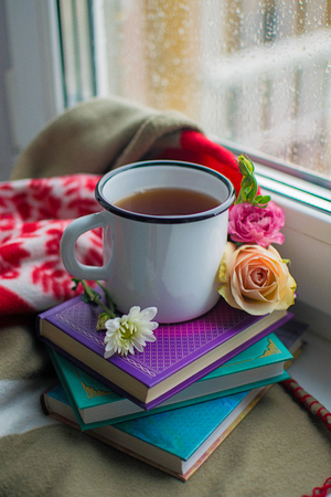 Cozy still life: mug of hot tea, books and flowers with warm plaid on windowsill.