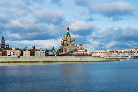 Beautiful embankment in Yoshkar-Ola. View of the Cathedral of the Annunciation. Russia, Republic of Mari El.