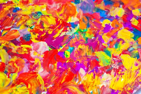 Abstraction painted with multicolored gouache. Drawing with your fingers. Mixing colors.