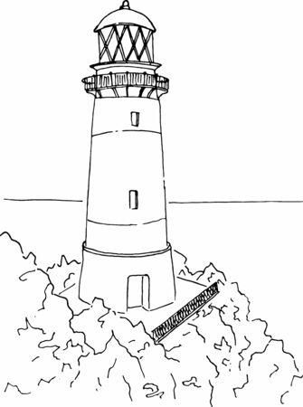 Lighthouse on coast of sea. Hand drawn beacon. Sketch. Vector illustration. Stok Fotoğraf - 130660738