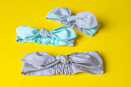 Delicate gray dressing-solokha for women or girls. Turban fashion, or bandana hair accessories for the beach and travel.