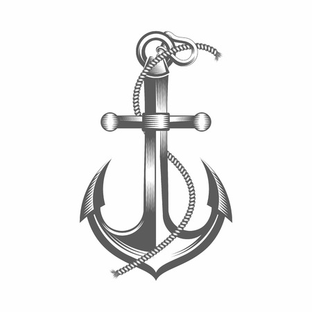 ink illustration: Vector illustration of a anchor in the old-fashioned style and line-art style. Can be used as a tattoo