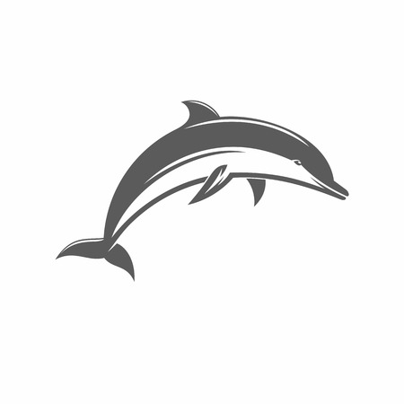 dolphin silhouette: vector illustration of a dolphin in the old-fashioned style and line-art style. Can be used as a tattoo Illustration