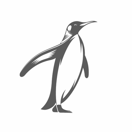Vector illustration of a penguin in the old-fashioned style and line-art style. Can be used as a tattoo