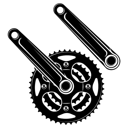 vector illustration bicycle cranks on a white background