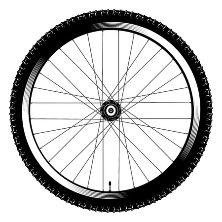 vector illustration bicycle wheel on a white background Vettoriali