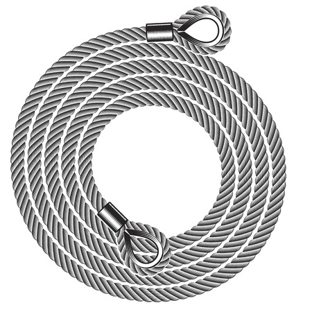 vector illustration of hank of rope tow in black and white Stock Illustratie