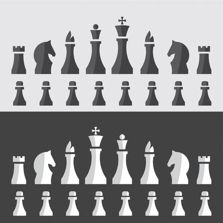 ajedrez: ilustraci�n vectorial de piezas de ajedrez en un estilo minimalista