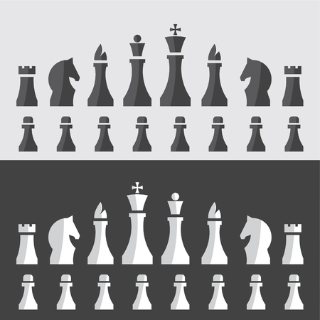 vector illustration of chess pieces in a minimal style