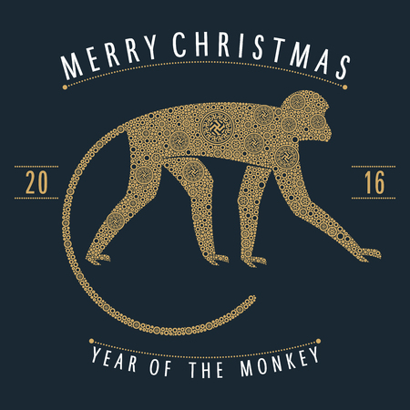 Christmas emblem monkey style gold points and Indian ornaments