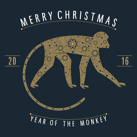 christmas design monkey style gold points