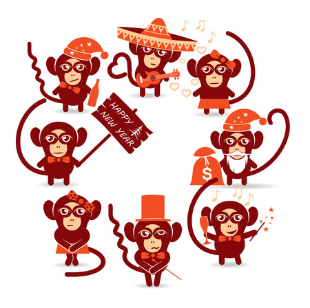 monkey face: set of festive christmas monkey
