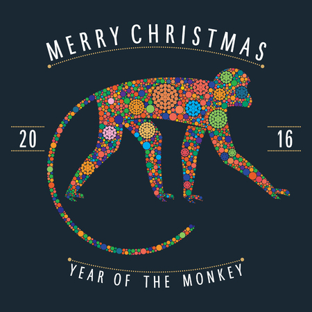 two thousand: Christmas design monkey style multicolor points