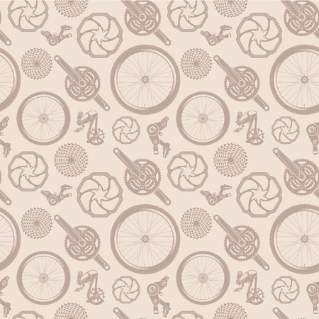 mtb: pattern made of bicycle parts in vintage style