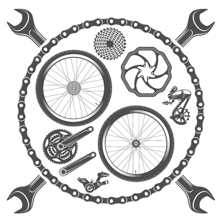 mtb: illustration emblems bike repair on a white background