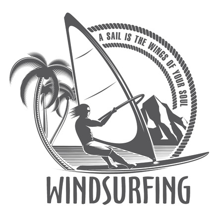 windsurf: isolated illustration emblems man on board sailing in vintage style on a white background