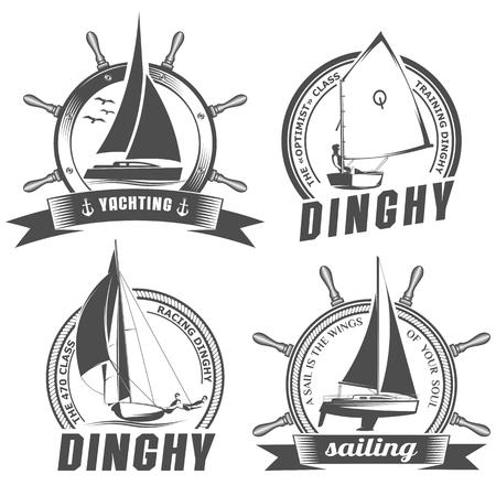 bateau de course: illustration emblème isolé à l'image de yachts sur un fond blanc dans le style vintage