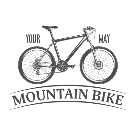 mtb: illustration of a mountain bike on a white background in vintage style Illustration