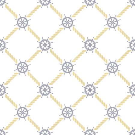 wzór ilustracji przedstawiających ster statku i liny na białym tle w minimalistycznym stylu Ilustracje wektorowe