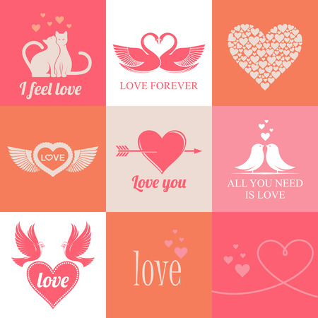 kitty cat: love theme set  of vector illustrations for Valentines day. Illustration
