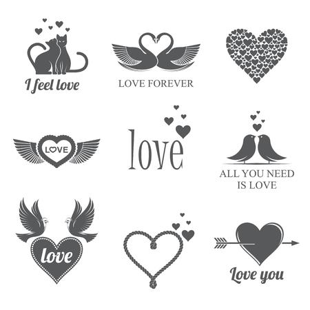 retro badge: love theme set  of vector illustrations for Valentines day. Illustration