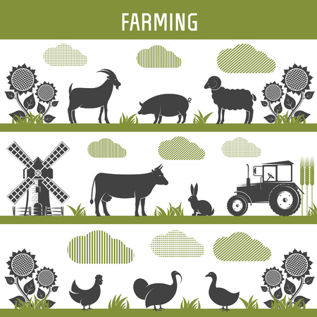 horticulture: farming agriculture and farming horticulture, gardening and stock raising. Vector Illustration isolated objects on a white background