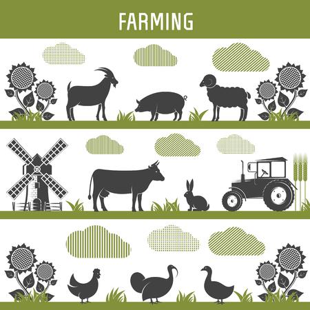 landbouw landbouw en veeteelt tuinbouw, tuinbouw en veeteelt. geïsoleerd Vector Illustratie objecten op een witte achtergrond