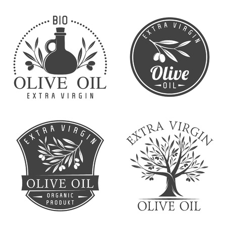 product icon: Vector illustration set of olive labels and badges isolated on white background