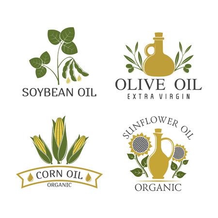 vector illustration set of vegetable oils badges isolated on white background